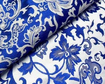 Discount China Blue Floral Chinese Brocade Silk Fabric Motif 29 inch/73cm W, The Yard or Metres CBS-829