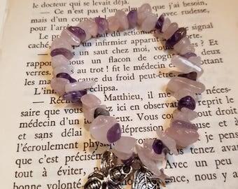 Amethyst and rose quartz bracelet