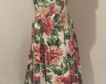 Large Floral Print Maxi Dress Linen