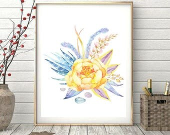 Printable art, Beautiful Flower, Watercolor Floral Print, Wall Art, Living Room Decor