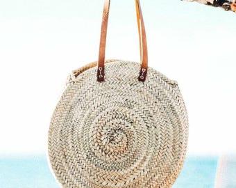 Round Straw Bag with Leather Straps - Handmade Round straw Basket, Summer Tote, Round French Market bag, Round beach basket, Straw Beach bag