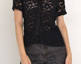 VINTAGE Black See Through Short Sleeve Retro Shirt