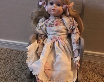 1990s Porcelain Doll, Girl in Chair