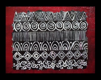 "Original Canvas Hand Paint Acrylic Painting Wall Art Home Decor Abstract ""8x10""  African art Black an White design Gift for her mix media"