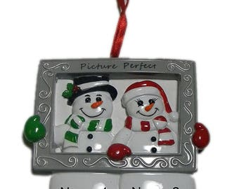 Personalized Snowman Frame Couple Christmas Ornament