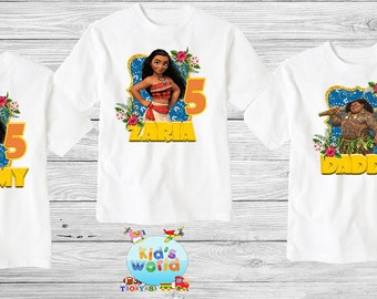 Moana birthday shirt,Custom shirt ,personalized Moana Mouse Shirt, family shirt,birthday shirt,kids custom birthday shirt d16