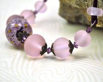 Pink flowers necklace,  lampwork necklace, pink beads necklace.  Matt glass necklace. Designer jewelry. Pink beads necklace