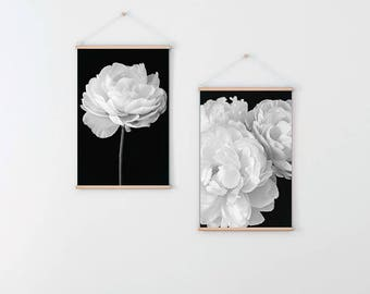 Two Peony Prints, Wall Art Prints, Black and White Prints, Botanical Prints, Gift for Her, Floral Prints, Flower Photography, Flower Prints
