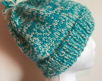 Blue and white knit hat; warm winter hat; hat with pom pom