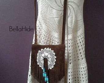 Brown suede bag, boho fringe bag, festival bag, fringed leather bag, cell phone bag, bohemian bag, gift for girlfriend, crossover bag purse