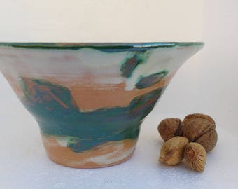 Bowl glazed red clay-handmade in pottery lathe