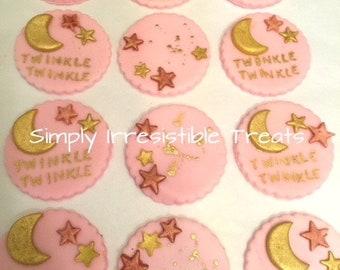 Edible Fondant  Cupcake Toppers ( Twinkle Twinkle Little Star)