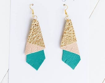 3D {SOUTHERN GAL COLLECTION} - Layered Geo Leather Statement Earrings