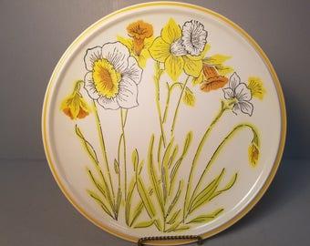 "4 Vintage Mikasa international Everfresh Yellow Daffodils Dinner Plates 10 3/4"""