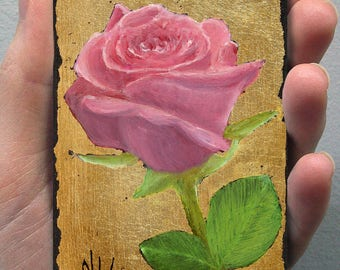 Unique Gift Card! ACEO Original Oil Painting Flower. OOAK, Everlasting  Pink Rose. Gold Color, Luxury Gift!