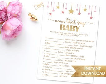 Name that song baby shower game | Pink and gold baby shower game | Twinkle twinkle little star | Girl baby shower | Name that song baby game