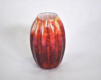 Hand Blown Glass Vase: Small Red, Orange, and White Glass Vessel, Office Decor, Desk Decorations, Flower Vase Art by Graham Judge