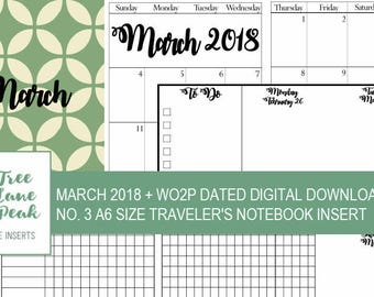 March 2018 Month + Dated WO2P Printable TN - A6 Size