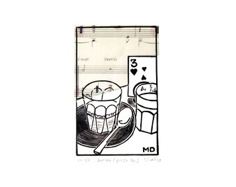 Linocut of Café scene in Black–Linoprint–Brother Espresso Café–Chine Collé–Miles Davis–Flamenco Sketches–Printmaking