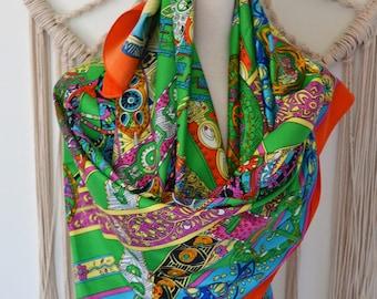 Wearable Art - Silk Square Scarf, Silk Shawl, Silk Wrap, Equestrian Horse Print Scarf, Women's Silk Scarves, Fashion Scarves