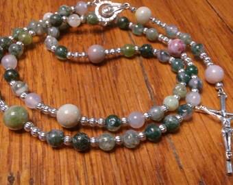 Catholic Rosary - Natural Jasper Bead, Semi-Precious Gemstone, Heirloom Quality, 5 Decade Rosary, Flex Wire