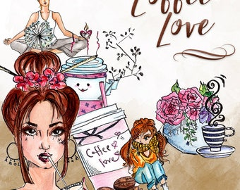 Coffee Love Clip Art | Hand Drawn Graphics | Illlustration, Digital Cliparts | Girl Clip Art | Watercolour Clip Art | Coffee