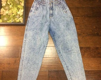 "VINTAGE Jordache Jeans Drop Crotch, High Waisted, Size: 9/10 Waist  24"", Pleated, Perfect Mom Denim, Double Button Retro, 80s, 90s, Tapered"