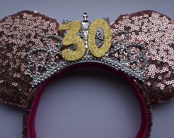 Handmade Princess Tiara Sequin Mouse Ears - Customisable, Pick Your Favourite Colours