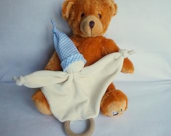 Wood teether, rattle, Pixie organic jersey velvet sky gingham baby blanket