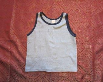 Small Gray 70s 80s Knit Tank Top, Size Small / Medium / Navy Blue Trim, Muscle Shirt, Beach Wear, Harvey Sport Wear
