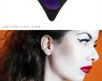 Real black patent leather necklace, choker with Agate