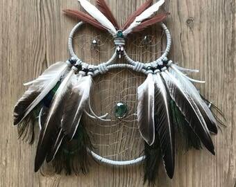 White Owl Dream Catcher, Wall Hanging, Handmade, Unique, Gift, Home Decor, Boho