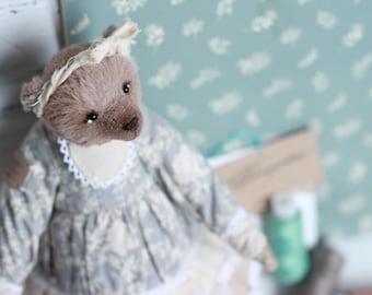 "Artist Handmade Teddy Bear OOAK Vintage Toy, beige Bear stuffed forest bear, woodland, artist collection teddy Christmas 8.6"" Traditional 22"