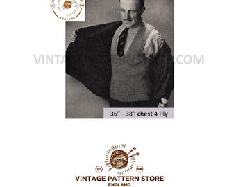 "Mans 1930s, scoop neck, under suit, sleeveless business sweater vest - 36"" - 38"" chest - Vintage PDF Knitting Pattern 1186"