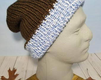 Reversible Knit Hat, Beanie and Slouchy- Chocolate Brown / Blue & White