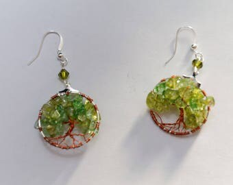 """Tree of life"" earrings in green quartz"