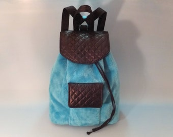 Backpack, Bag, Gift for Her, Blue backpack, Blue Bag, Sporty Gift, Blue Ecological Fur Backpack, Blue Ecological Fur Bag, Sporty-Chic Style