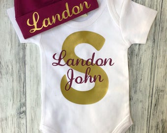 Name Personalized monogram initial and name Onesie/bodysuit With Beanie/or toddler t-shirt/best Baby shower gift/newborn gift
