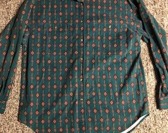 Green buttondown shirt