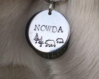 Adventurer Dog Tag, Cat Tag, dog id tag, dog name tag, nature dog tag, outdoorsy dog tag, bear dog tag, tree dog tag, metal stamped dog tag
