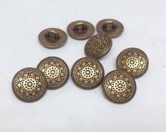 10 Metal Button- 10mm - 10pcs- sewing button, knitting, crochet, scrapbook - MBUT-27