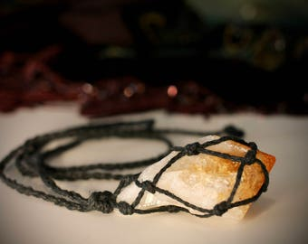 Citrine Crystal Hemp Wrapped Necklace