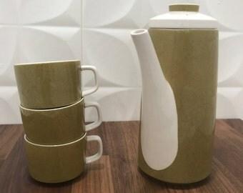MIKASA Mediterrania Olive Green Tea Pot with 3 Tea Cups