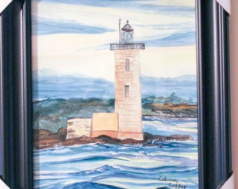 Watercolor of Whaleback Ledge Lighthouse,Piscataqua River Off Kittery Point, Maine, Framed Original,50'Granite Tower, Wall Art,Seascape,Gift