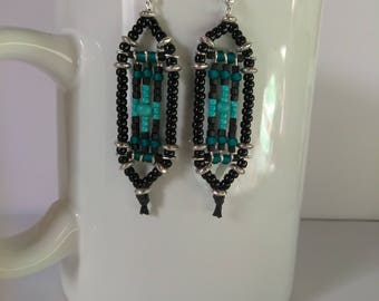 Black & Turquoise Seed Bead