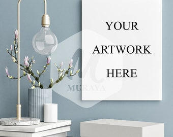 Living room Canvas mockup, Styled Stock Photograpy, Modern Interior, PSD Mockup, Natural Lighting