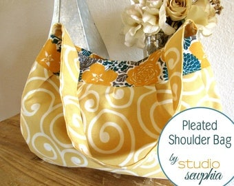 Pleated Yellow Shoulder Bag
