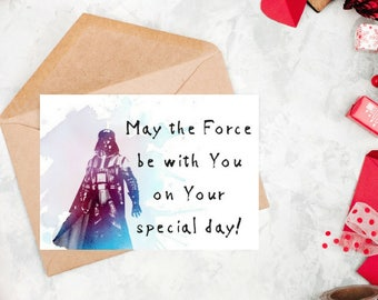 Star Wars Birthday card, Darth Vader card, Vader greeting card, Special day card, Funny card for him, Card for her, Instant download