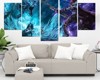 Heroes of The Storm World of Warcraft 5 Panel Piece Canvas Set WoW Wall Art Print Poster Artwork Wall Decor Painting Decal Mural Decoration