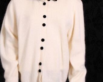vintage Bryn Connelly ANGORA & LAMBSWOOL SWEATER cardigan bombshell velvet M
